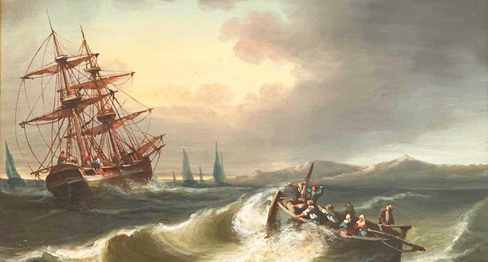 Лодка в шторм, холст, масло 19-е