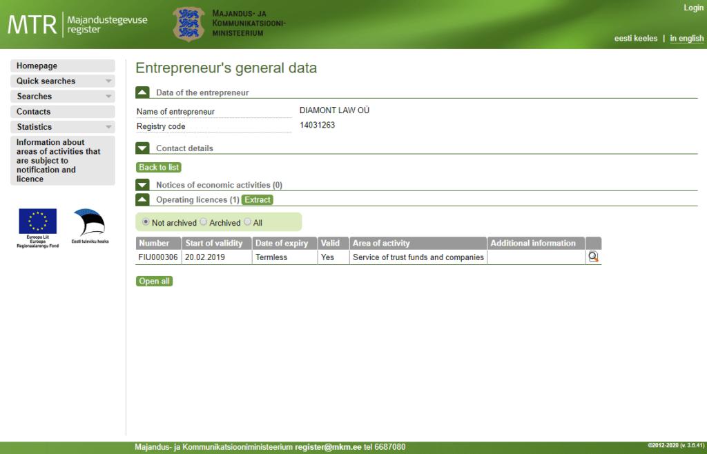 Контактное лицо для эстонской компании, на 1 год